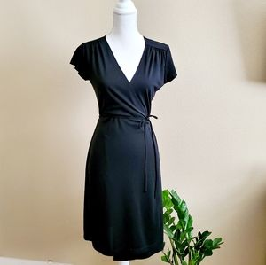 Express Black Knee Length Wrap Dress